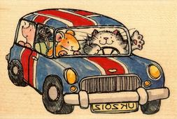 Hedgehog Cat Car Miniful UK Wood Mounted Rubber Stamp PENNY