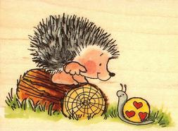 Hedgehog Snail Love Conquers Wood Mounted Rubber Stamp PENNY