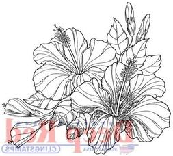 Deep Red Stamps Hibiscus Rubber Cling Stamp