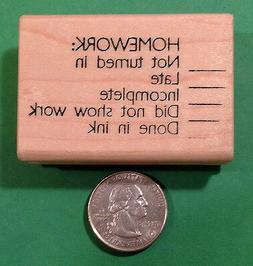 Homework Deficiency, Wood Mounted Teacher's Stamp