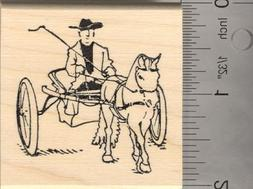 Horse with Driver Rubber Stamp