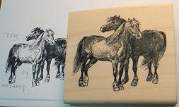 "Horses 3x2.75""  NEW Rubber Stamp WM  P12"