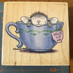 "HOUSE MOUSE ""Feeling Rosy"" rubber stamp, wood mount Maxwell"