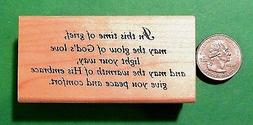 In This Time of Grief -  Sympathy Card Rubber Stamp, Wood Mo
