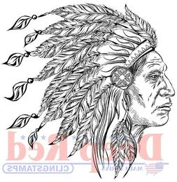 Deep Red Stamps Indian Chief Rubber Cling Stamp