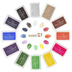 Ink Pad Stamps, Ubegood Stamp Pad DIY 12 Colors Crafts Ink P