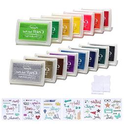 Decora 15pcs Ink Pads and Small Clear Stamps Work with Stamp