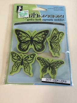Inkadinkado Inkadinkaclings Rubber Cling Stamps BUTTERFLIES