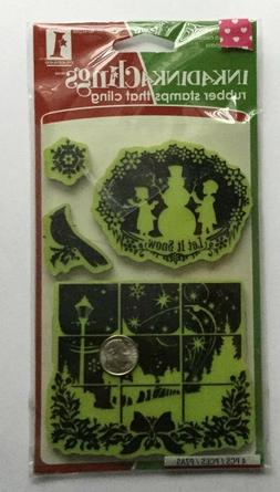 inkadinkaclings rubber cling stamps winter wonderland christ