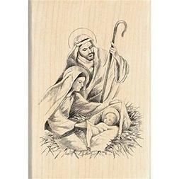 "Inkadinkado Mounted Rubber Stamp 2.75""x4""-nativity"