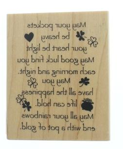 irish good luck limerick wooden rubber stamp