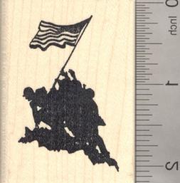 Iwo Jima Flag Raising Rubber Stamp, Memorial Day, United Sta