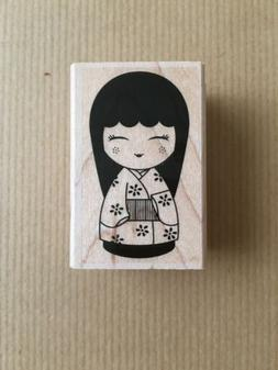 Japanese Doll #3 Wood Mounted Rubber Stamp Hero Arts NEW asi