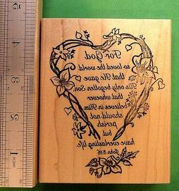 John 3:16  For God So Loved The World . . . Wood Mtd. Script