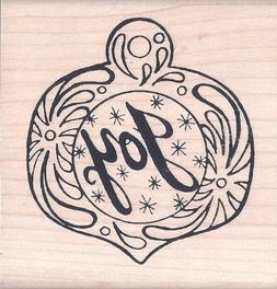 JOY Decorated Ornament Gift TAG Rubber Stamp Christmas NEW N