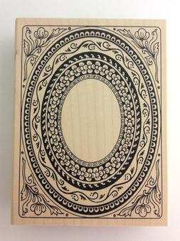 Judi Kins Large Decorative Oval Frame Rubber Stamp Wood Moun