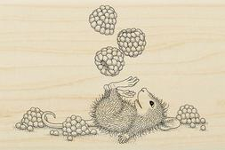 Juggling Berries HOUSE MOUSE Wood Mounted Rubber Stamp STAMP