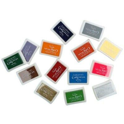 Large Stamp Craft Ink For Paper Wood Fabric 15 Colors