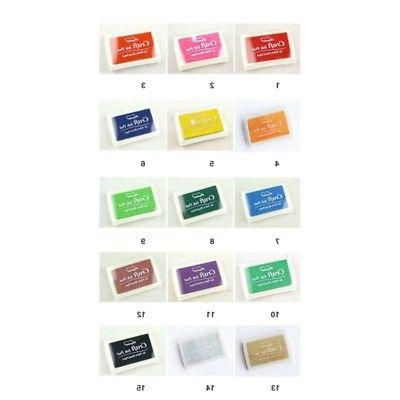 15 Color Rubber Stamps Craft Pigment Ink Pad Paper Fabric Crafts