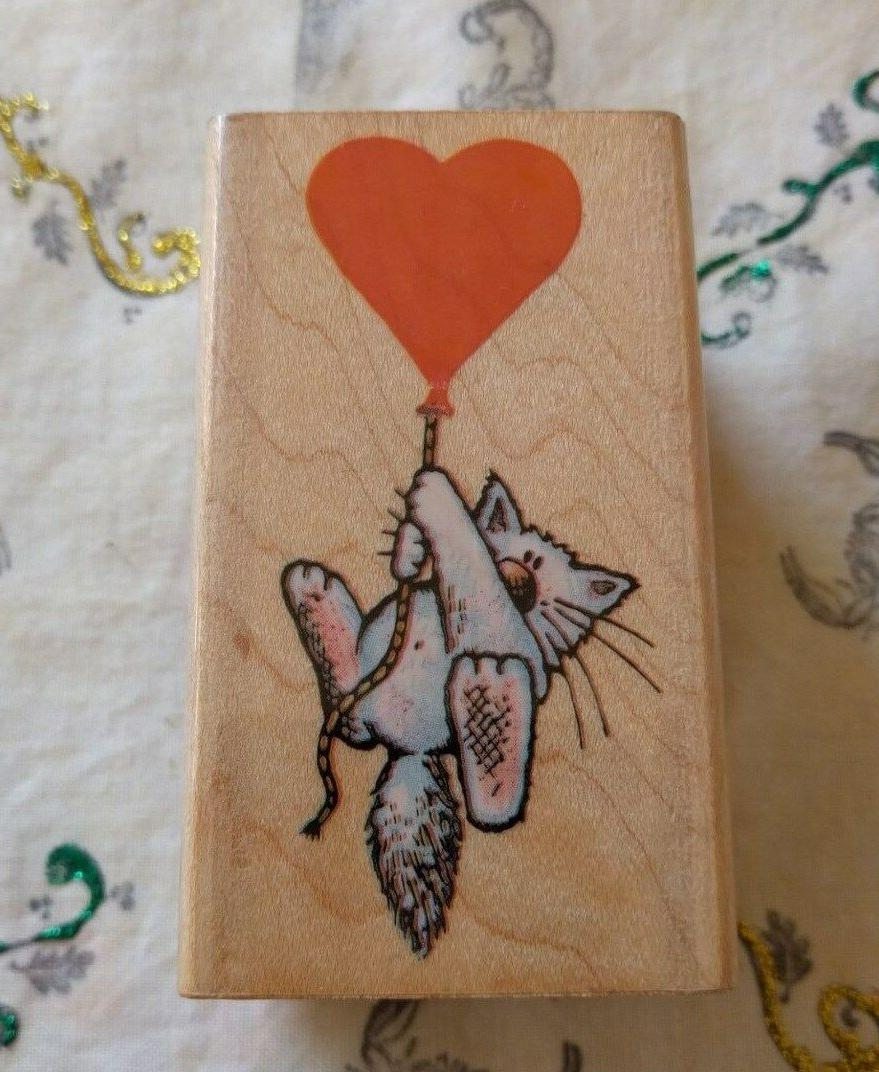 218g mounted rubber stamp cat with heart