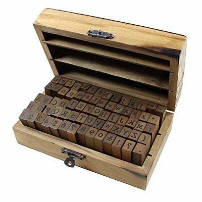 70pcs Alphabet Vintage Wooden Letter Number And Stamp