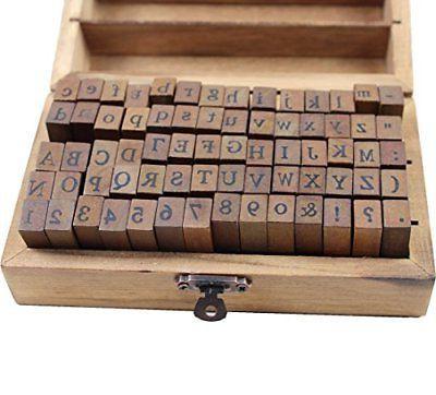 70pcs alphabet stamps vintage wooden rubber letter
