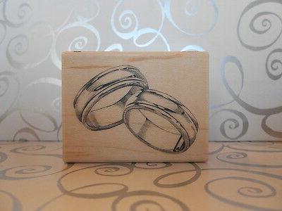 NEW INKADINKADO WEDDING RINGS BANDS RUBBER MOUNTED WOOD BLOC