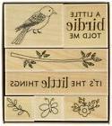 A LITTLE BIRDIE Rubber Stamps LP409 Hero Arts Set of 7  Bran