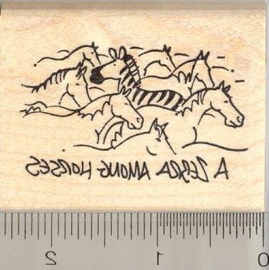 a zebra among horses rubber