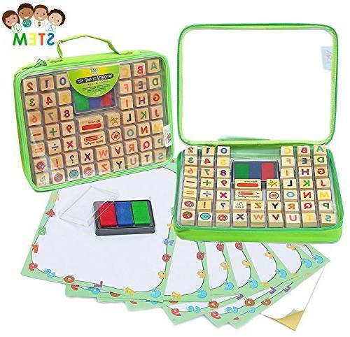 alphabet stamp set includes case