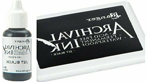 archival ink jet black permanent dye stamp