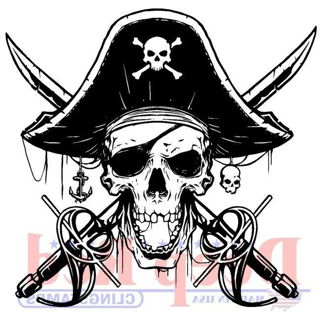 beware of pirates rubber cling stamp