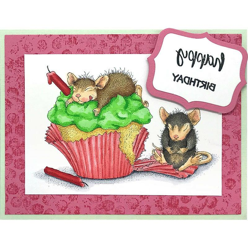 Birthday Cupcake HOUSE MOUSE Wood Mounted STAMPENDOUS