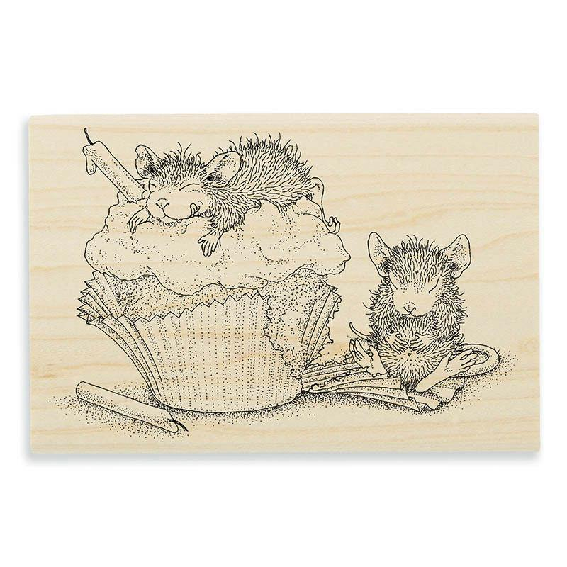 Birthday Cupcake MOUSE Wood Rubber Stamp STAMPENDOUS HMP96