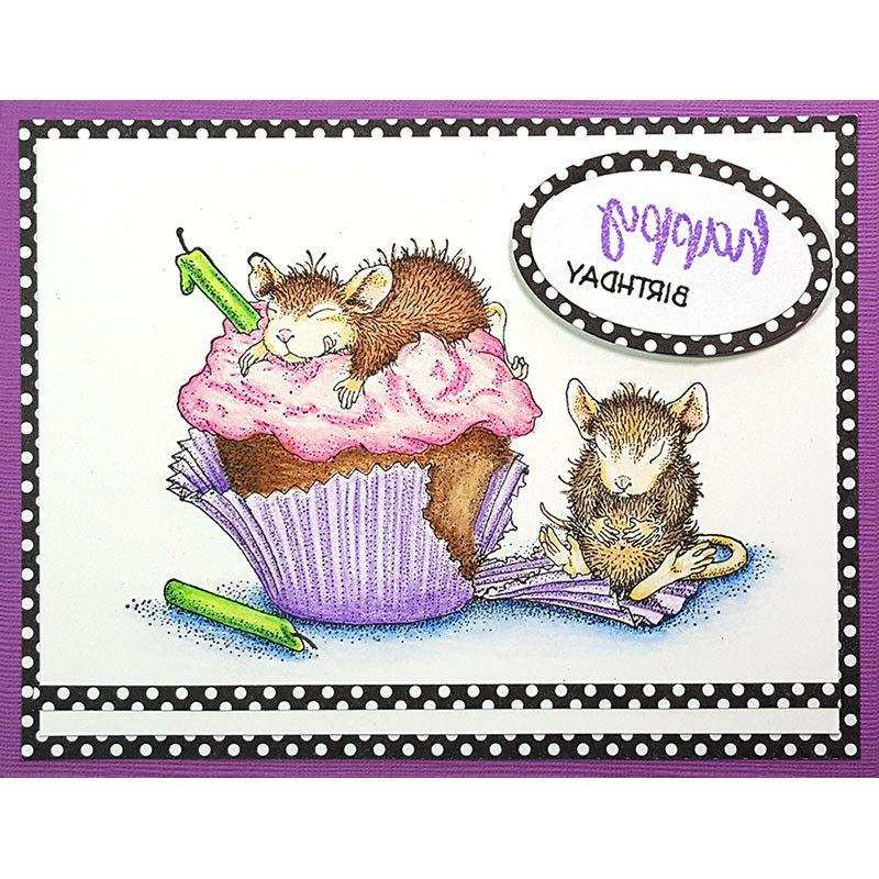 birthday cupcake house mouse wood mounted rubber