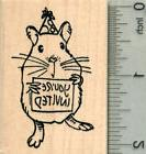 Birthday Hamster Rubber Stamp, with Party Hat and Invitation