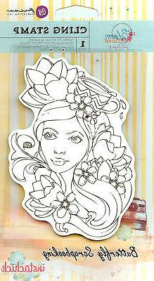 Prima Marketing Bloom Cling Rubber Stamps, 4 by 6-Inch, Girl