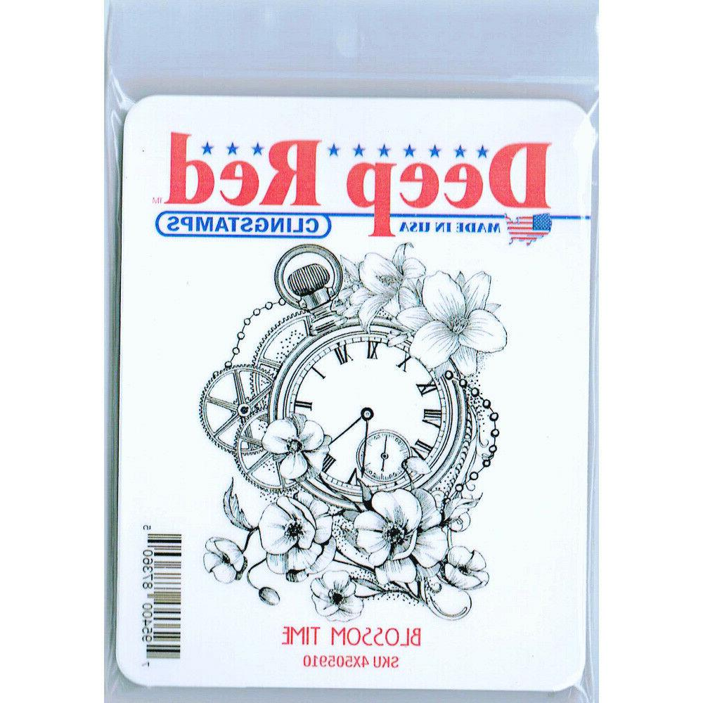 Deep Red Time Rubber Cling