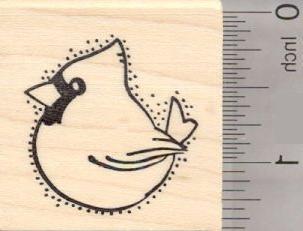 cardinal bird rubber stamp