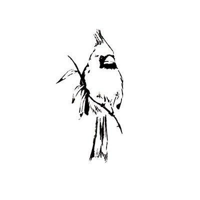 cardinal unmounted bird rubber stamp winter christmas