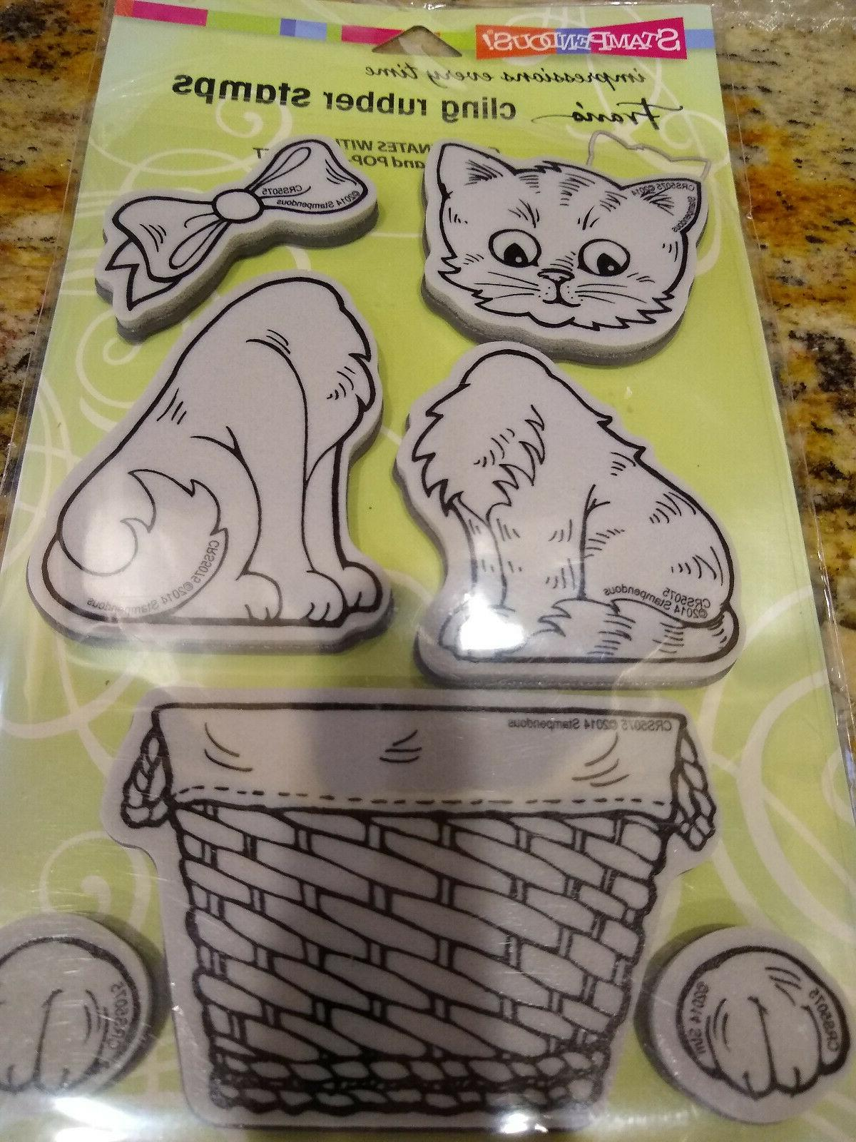 cat cling rubber stamp set
