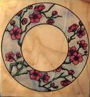 CHERRY BLOSSOM CIRCLE FRAME FLOWERS BRANCH RUBBER STAMP STAM