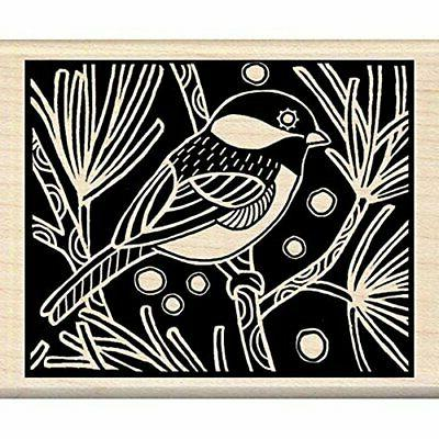 chickadee woodcut wood stamp