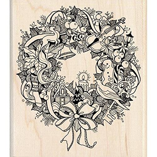 christmas mounted rubber stamp wreath