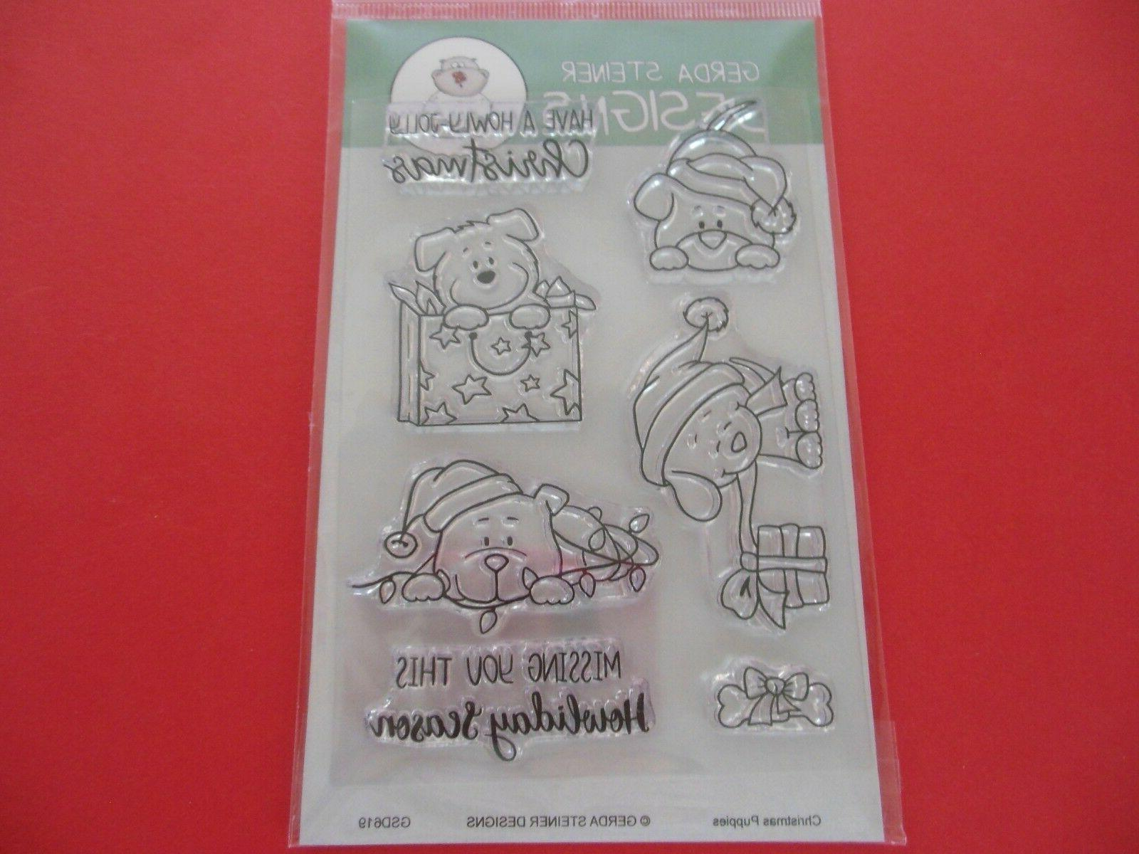 christmas puppies clear rubber stamp set