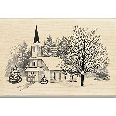 church snow christmas mounted rubber