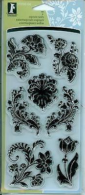 INKADINKADO clear stamp set FLORAL DAMASK Flowers Flourishes