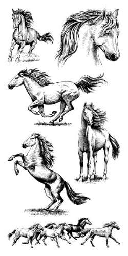 Inkadinkado Clear Stamps Sheet-Horses