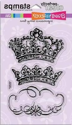 STAMPENDOUS Clear Stamps VINTAGE CROWNS  Journaling Box Roya
