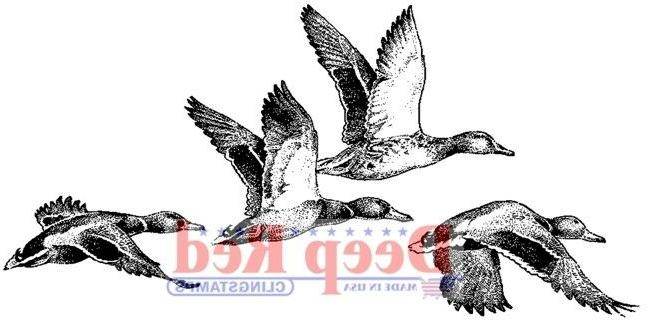 Deep Red Cling Stamp 1.75X3.5-Ducks
